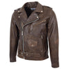 Mens Heavy Duty Leather Biker Brando Jacket Kyle Antique Brown 4