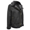 Womens Sheepskin Aviator Cross Zip Pilot Jacket Lena Black 4