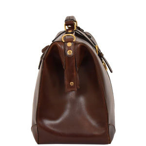 leather Gladstone bag in brown
