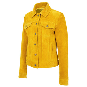 Womens Soft Suede Trucker Style Jacket Alma Yellow 4