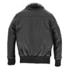 Boys Leather Bomber Jacket with Detachable Collar Liam Black 1