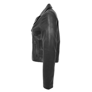 Womens Soft Leather Cross Zip Casual Jacket Jodie Black 5