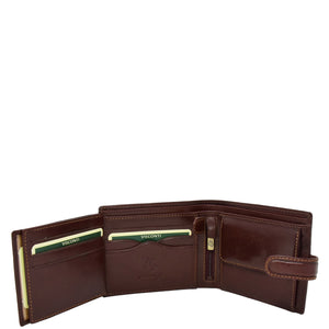 Mens Buckle Closure Leather Wallet Hamburg Brown 5