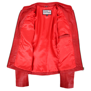 Womens Leather Standing Collar Jacket Becky Red 5