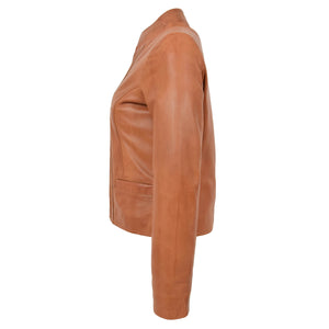 Womens Leather Casual Standing Collar Jacket Ivy Tan 5
