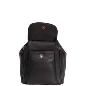 black backpack with front magnetic pocket