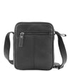 Mens Leather Cross Body Small Flight Bag Parkham Black 1