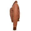 Womens Leather Classic Bomber Jacket Motto Tan 4