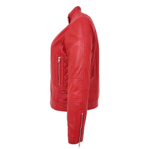 Womens Soft Leather Casual Zip Biker Jacket Ruby Red 5