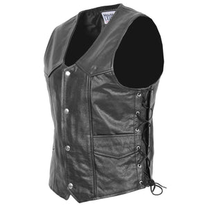 Mens Real Leather Gilet with Side Tassel Feature Jax Black 3