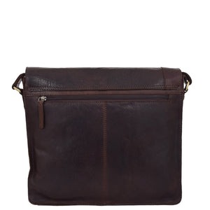 Mens Leather Flap Over Cross Body Bag Bristol Brown 1