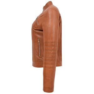 Womens Leather Classic Biker Style Jacket Alice Tan 4