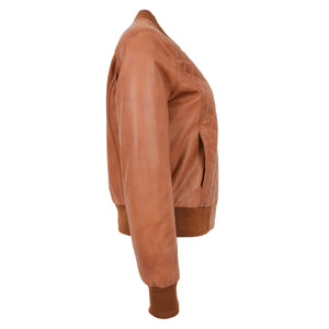 Womens Leather Varsity Quilted Bomber Jacket Sally Tan 4