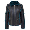 Womens Sheepskin Aviator Pilot Jacket Valerie Black Green 3