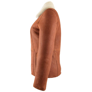 Womens Sheepskin Mid Length Coat Scarlett Whiskey 4