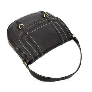Womens Leather Cross Body Handbag Mila Black top
