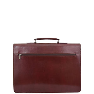 Mens Leather Flap Over Briefcase Dunkirk Brown 1