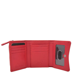 Womens Small Trifold Leather Purse Carmel Red 3