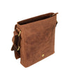 Mens Leather Cross Body Flight Bag Pouch Evan Tan underflap