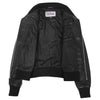 Womens Leather Classic Bomber Jacket Motto Black 5