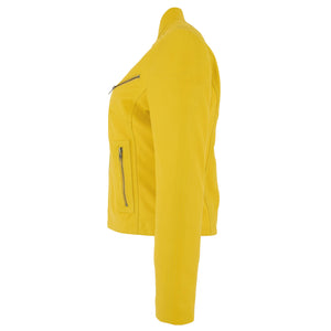 Womens Leather Standing Collar Jacket Becky Yellow 4