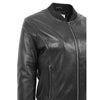 Womens Real Leather Varsity Bomber Jacket Faye Black 5
