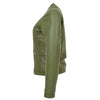 Womens Leather Collarless Jacket with Quilt Design Joan Olive Green 4