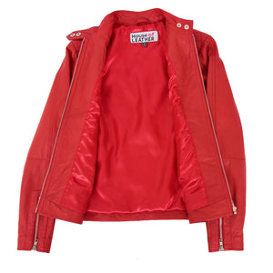 Womens Soft Leather Casual Zip Biker Jacket Ruby Red 6