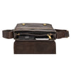 mens leather bag with a middle zip divider
