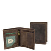 Mens Bifold Vintage Leather Wallet Vienna Brown