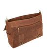 Mens Leather Cross Body Flap Over Briefcase Caleb Tan under flap