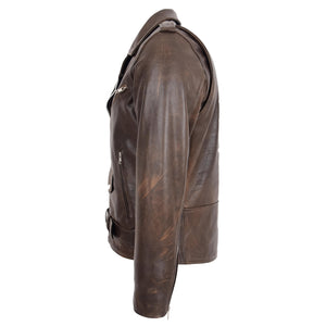 Mens Heavy Duty Leather Biker Brando Jacket Kyle Antique Brown 5