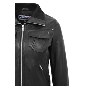 Womens Leather Classic Bomber Jacket Motto Black 6