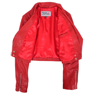 Womens Leather Cropped Biker Style Jacket Demi Red 6