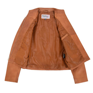 Womens Leather Casual Standing Collar Jacket Ivy Tan 6
