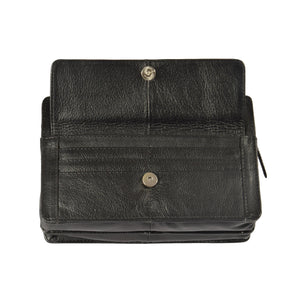leather money bag black