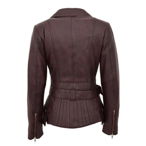 Womens Leather Hip Length Biker Jacket Celia Brown 1