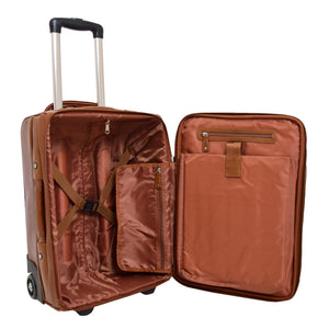 Exclusive Leather Cabin Size Suitcase Kingston Tan 5