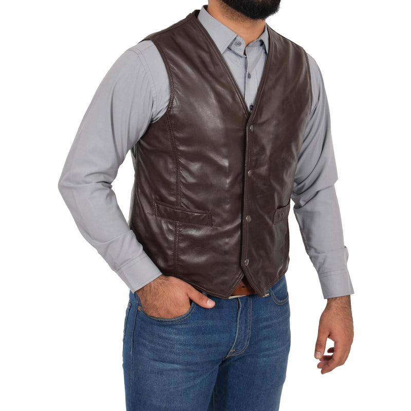 chocolate brown leather vest