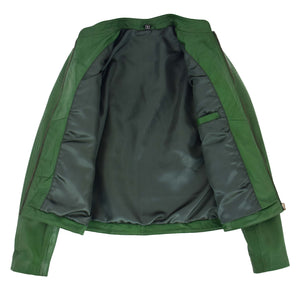 Womens Leather Standing Collar Jacket Becky Green 6