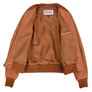 Womens Leather Varsity Quilted Bomber Jacket Sally Tan 6