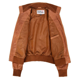 Womens Leather Classic Bomber Jacket Motto Tan 5