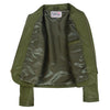 Womens Leather Collarless Jacket with Quilt Design Joan Olive Green 5