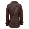 Womens Leather Double Breasted Trench Coat Sienna Brown 1