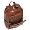 leather backpack with a front pocket