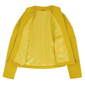 Womens Leather Standing Collar Jacket Becky Yellow 5