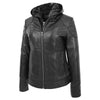 Womens Leather Detachable Hooded Coat Brooke Black 4