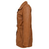 Womens Leather Trench Coat with Belt Shania Tan 5