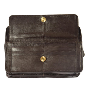 real leather money bag in brown