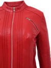 Womens Leather Classic Biker Style Jacket Alice Red 6